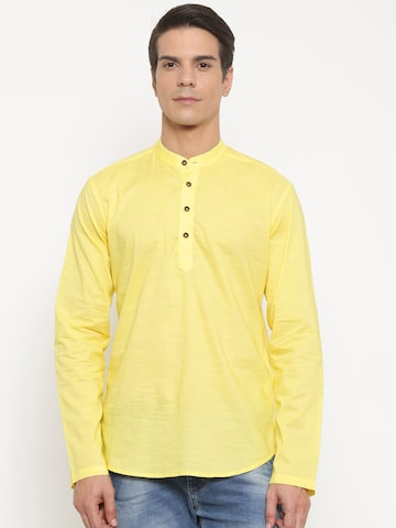 The Indian Garage Co Men Yellow Solid Straight Kurta at myntra