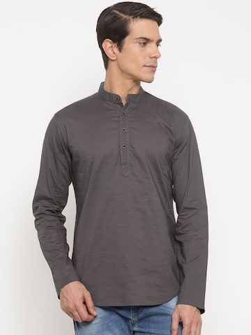 The Indian Garage Co Men Grey Solid Straight Kurta at myntra