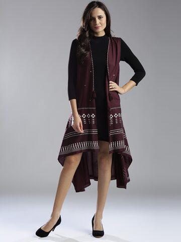 W Women Burgundy Printed Longline Ethnic Jacket at myntra