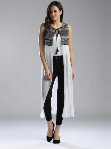 W Women White & Black Patterned Longline Ethnic Jacket at myntra