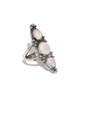 Accessorize Oxidised Silver-Toned Stone-Studded Ring Accessorize Ring at myntra