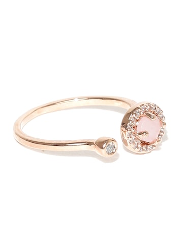 Accessorize Rose Gold-Plated CZ Stone-Studded Ring at myntra