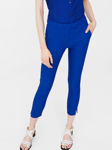 MANGO Women Blue Solid Cropped Trousers at myntra