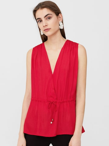 MANGO Women Red Solid Cinched Waist Top at myntra