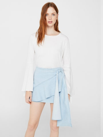 MANGO Blue Layered Wrap-Around Mini Denim Skirt at myntra