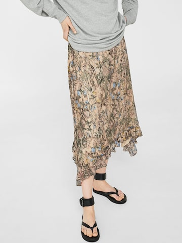 MANGO Beige & Black Lace Printed Midi Flared Skirt at myntra