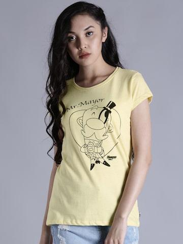 Kook N Keech Women Yellow Printed Round Neck T-shirt at myntra