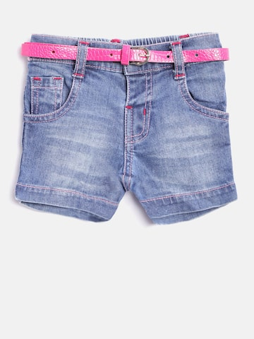 Baby League Girls Blue Washed Denim Shorts at myntra