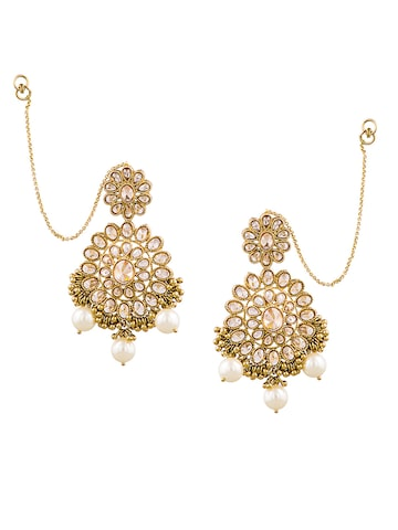 Sia Art Jewellery Gold-Toned & Off-White Floral Drop Earrings with Chain at myntra