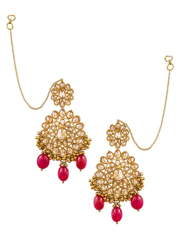 Sia Art Jewellery Gold-Toned & Pink Floral Drop Earrings with Chain at myntra