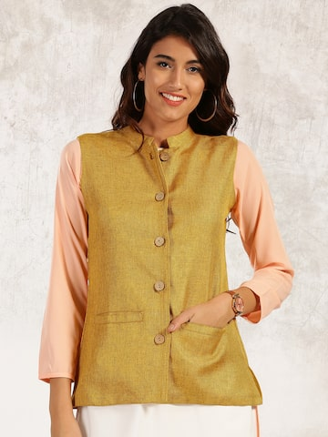 Anouk Women Mustard Yellow Solid Tailored Jacket at myntra