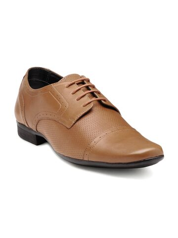 Franco Leone Men Tan Brown Perforated Leather Semiformal Shoes at myntra