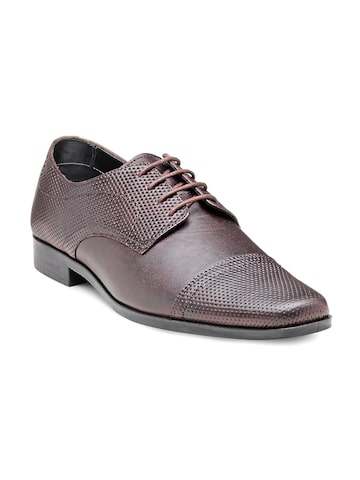 Franco Leone Men Mauve Perforated Leather Semiformal Shoes at myntra