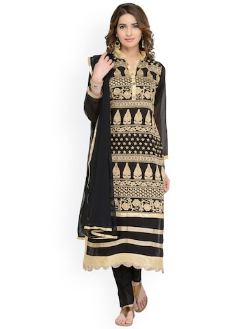 Chhabra 555 Black & Gold-Toned Cotton Blend Unstitched Dress Material at myntra