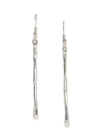 ToniQ Silver-Toned Contemporary Drop Earrings at myntra