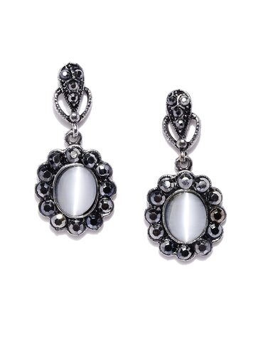 ToniQ Gunmetal-Toned Floral Drop Earrings ToniQ Earrings at myntra