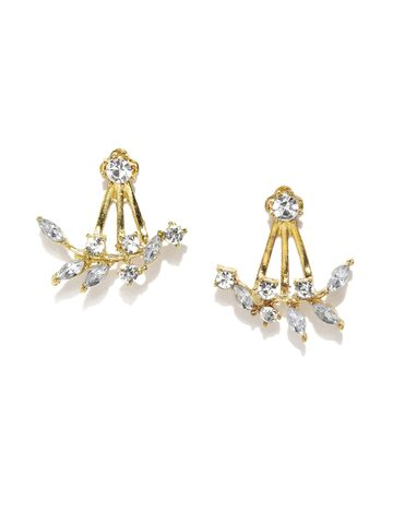 ToniQ Gold-Toned & White Embellished Drop Earrings at myntra