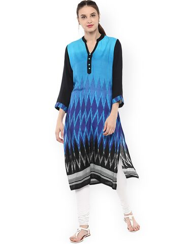 Bhama Couture Women Blue Printed Straight Kurta at myntra