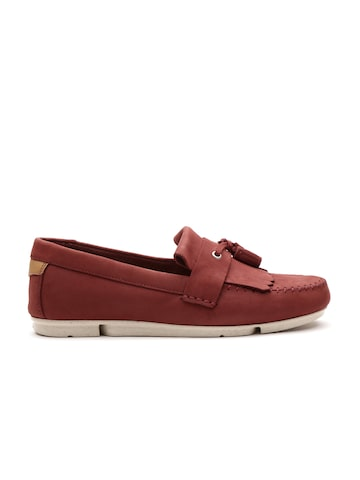 Clarks Men Rust Red Nubuck Leather Tassel Loafers at myntra