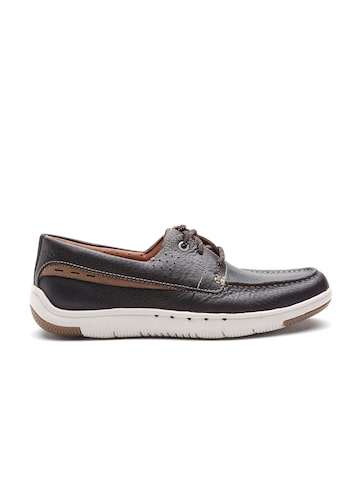 Clarks Men Coffee Brown Leather Derbys at myntra
