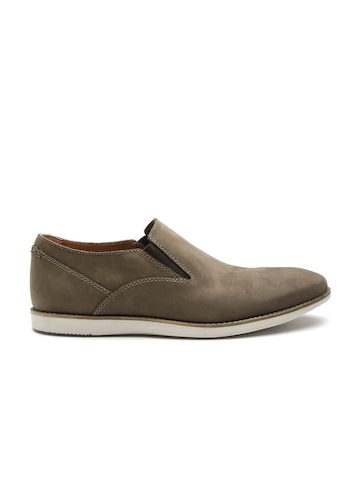Clarks Men Brown Nubuck Leather Slip-Ons at myntra