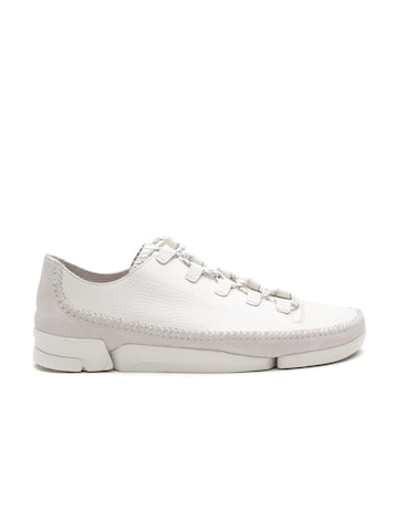 Clarks Men White Textured Leather Sneakers at myntra