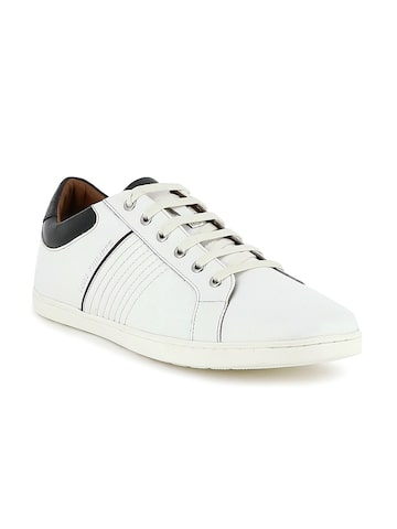 Louis Philippe Men White Leather Sneakers at myntra