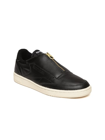 Reebok Classic Women Black Club C 85 Zip Leather Slip-Ons Reebok Classic Casual Shoes at myntra