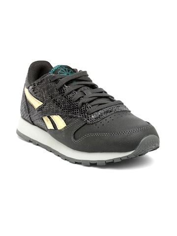 Reebok Classic Women Charcoal Grey CL Scare Snakeskin-Textured Leather Sneakers Reebok Classic Casual Shoes at myntra