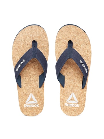 Reebok Men Navy & Brown Cork Flip-Flops at myntra