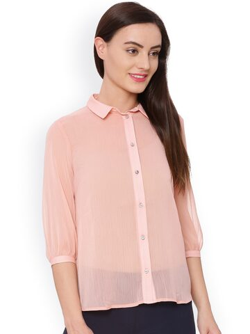 Avirate Women Rose Solid Sheer Casual Shirt Avirate Shirts at myntra