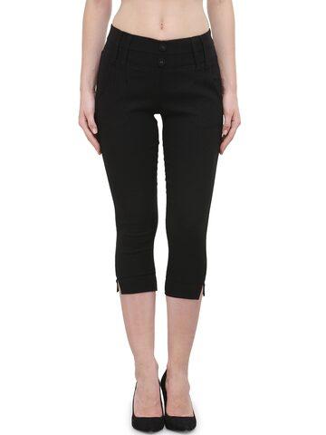 Westwood Women Black Solid Skinny Fit Capris at myntra