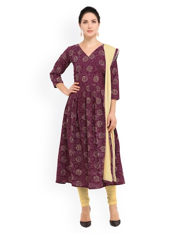 Inddus Mauve & Cream-Coloured Pure Cotton Unstitched Dress Material at myntra