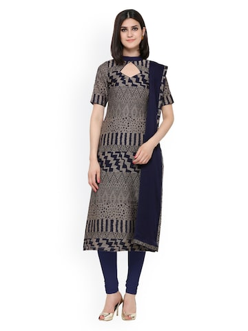 Inddus Blue & Grey Cotton Blend Unstitched Dress Material at myntra