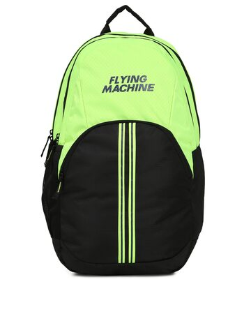 Flying Machine Men Black & Green Backpack at myntra
