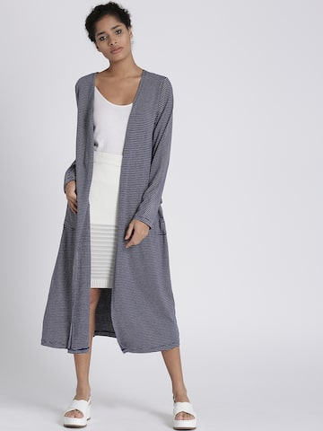 Chemistry Navy Blue & Grey Striped Longline Shrug Chemistry Shrug at myntra