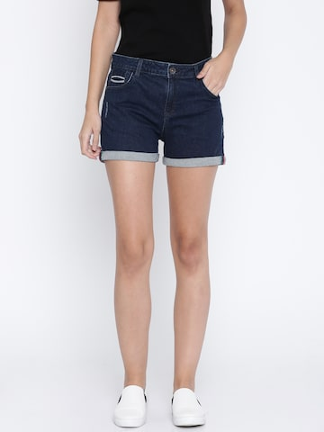 United Colors of Benetton Women Blue Solid Regular Fit Denim Shorts United Colors of Benetton Shorts at myntra