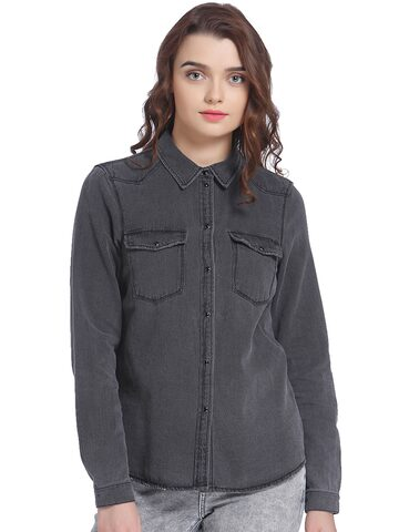 Vero Moda Women Charcoal Grey Regular Fit Faded Casual Shirt Vero Moda Shirts at myntra