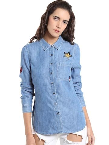 Vero Moda Women Blue Regular Fit Solid Casual Shirt Vero Moda Shirts at myntra