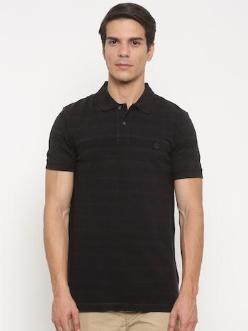 Timberland Men Black Solid Polo T-shirt at myntra