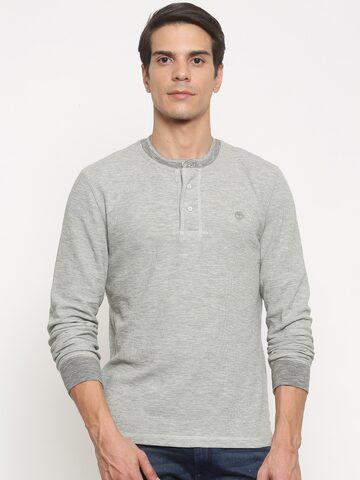 Timberland Men Grey Melange Solid Henley Neck T-shirt at myntra