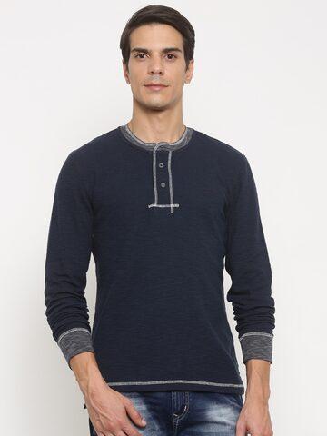 Timberland Men Navy Solid Henley T-shirt at myntra
