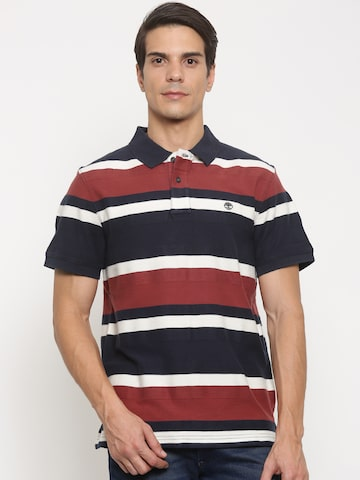 Timberland Men Navy & Red Striped Polo T-shirt at myntra