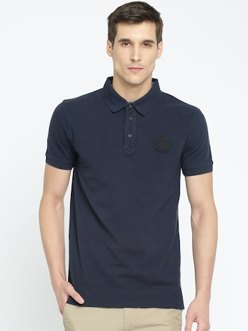 Timberland Men Navy Blue Solid Polo Collar T-shirt Timberland Tshirts at myntra