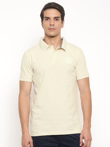 Timberland Men Cream-Coloured Solid Polo Collar T-shirt at myntra