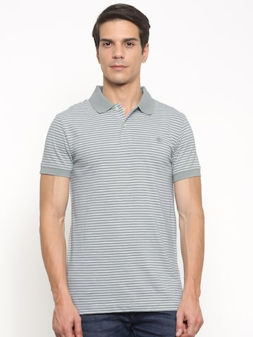 Timberland Men Blue & White Striped Polo Collar T-shirt at myntra