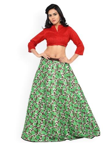 Triveni Green & Red Floral Print Art Silk Semi-Stitched Lehenga Choli Triveni Lehenga Choli at myntra
