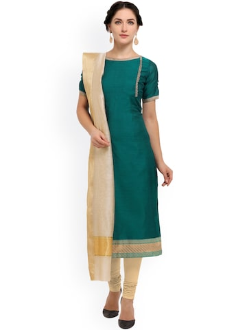 Inddus Green & Beige Cotton Blend Unstitched Dress Material at myntra