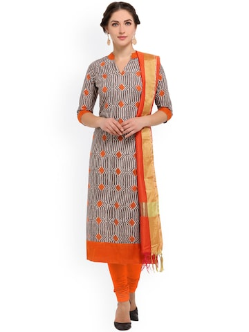 Inddus Grey & Orange Pure Cotton Unstitched Dress Material at myntra
