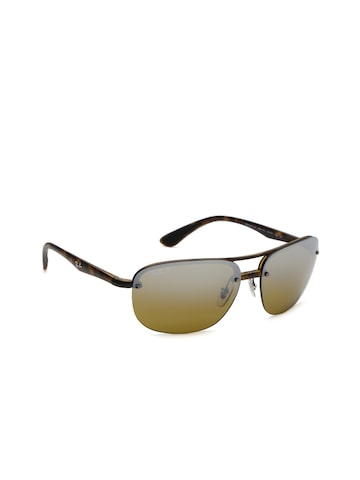 Ray-Ban Men Mirrored Rectangle Sunglasses 0RB4275CH894/A263 Ray-Ban Sunglasses at myntra